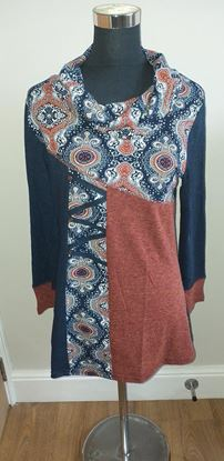 Picture of Blue/terracotta top